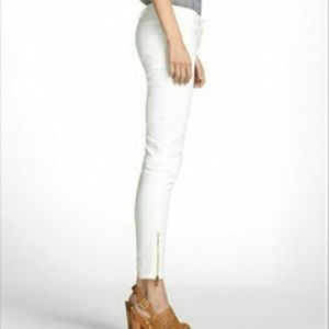 Tory Burch White Skinny Ankle Zip Jeans